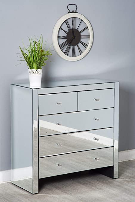 Mirrored Bedroom Furniture Set Chest Of Drawers Bedside Table Glass Silver Modern 3 2 Chest Of Drawers