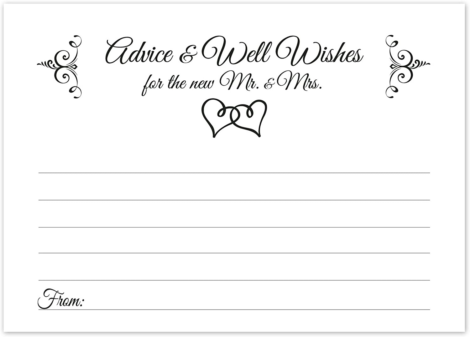 Wishes for the Happy Couple Cards Unique Bridal Shower Activity Game or Wedding Guest Book Alternative Black and White