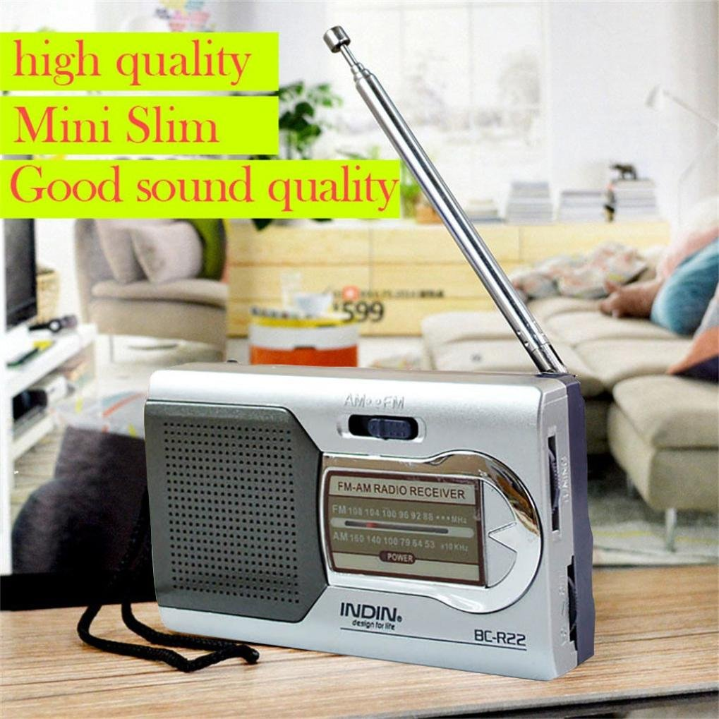 Sannysis AM//FM, DC 3V AAX2 bater/ías color plata Radio port/átil digital radios peque/ñas de bolsillo de pilas con conector para auriculares de 3,5 mm BC-R60