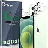 Ferilinso [4 Pack] 2 Pack Screen Protector for iPhone 12 with 2 Pack Camera Lens Screen Protector [Tempered-Glass] [Military