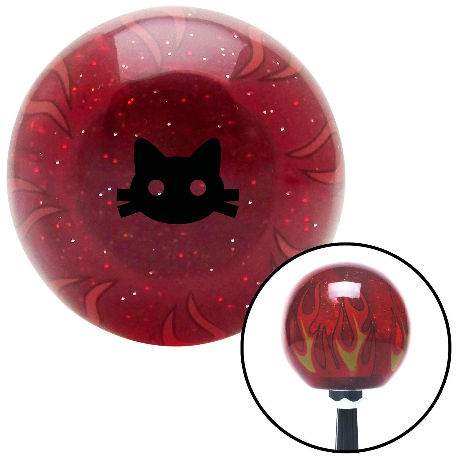 American Shifter 296460 Shift Knob Black Cat Silhouette 2 Red Flame Metal Flake with M16 x 1.5 Insert