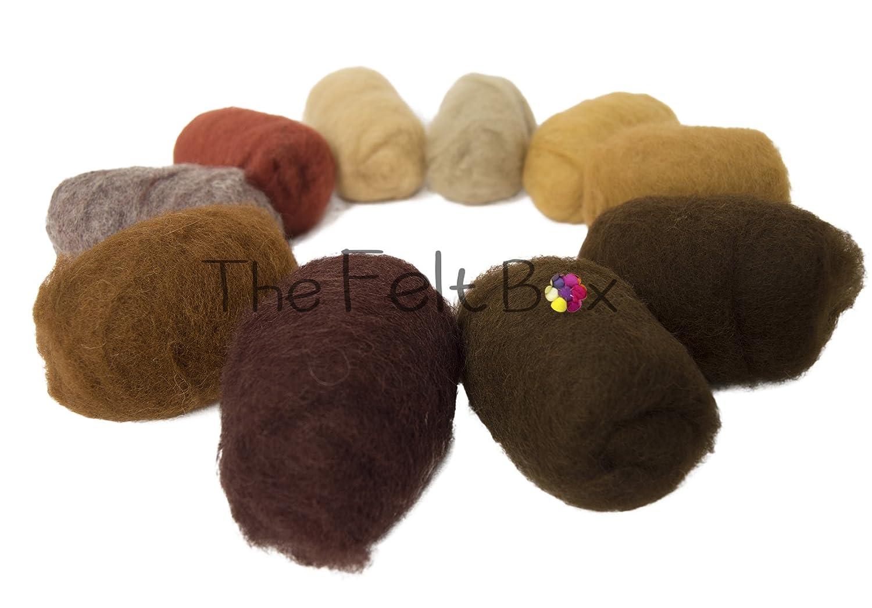 Carded Wool For Felting, Needle Felting Wool Shade Pack, 100 grams 3.5 Oz (black white) The Felt Box