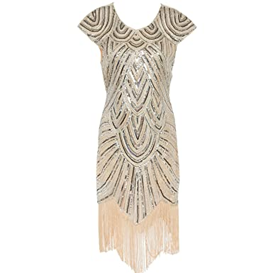 Vintage 1920s Flapper Great Gatsby Dress Cap Sleeve Sequin Fringe Party Midi Dress Summer Women Vestido