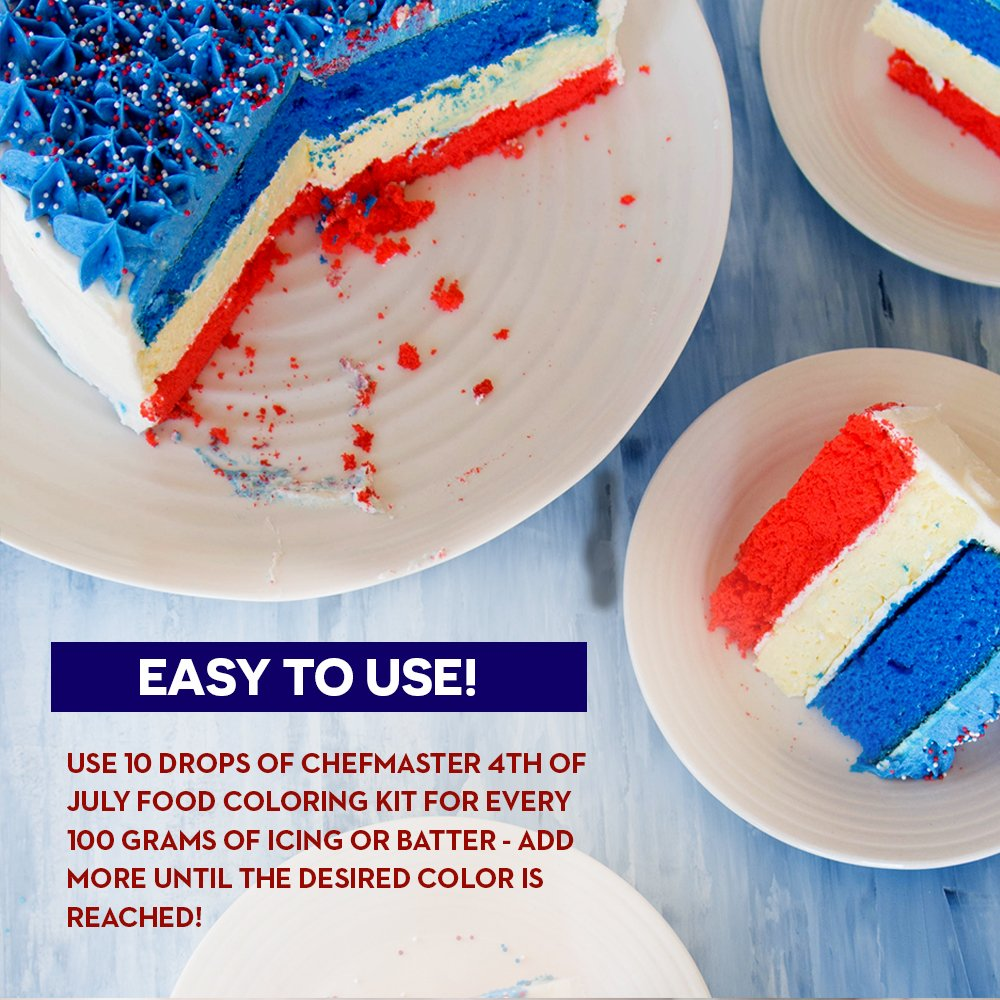 Chefmaster 4th of July Food Coloring Kit, 4-Pack Gluten Free Food Colors for Slime & Cake Decorating.70 oz Concentrated Food Coloring in Royal Blue, Super Red, Lemon Yellow & White by Chefmaster (Image #8)