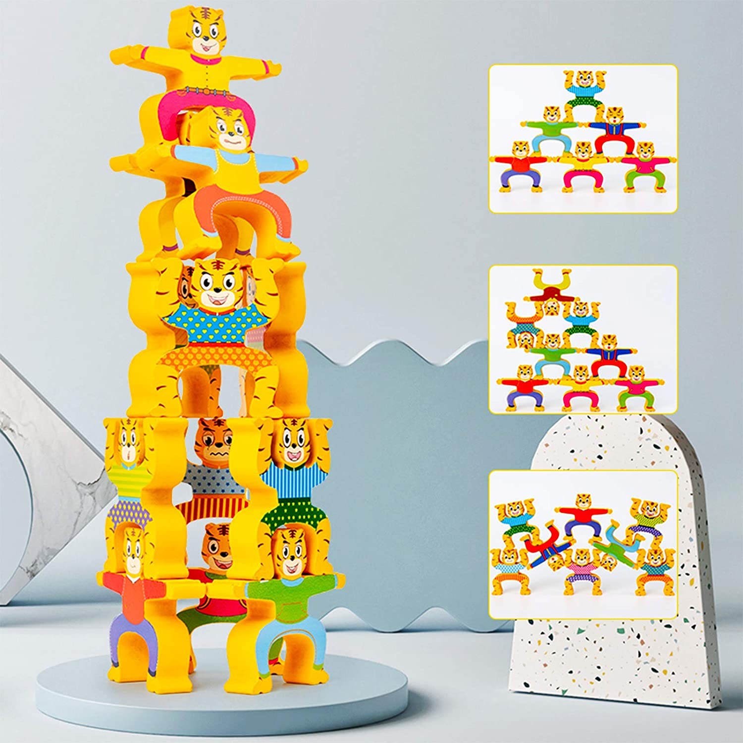 Stacking Game,Wooden Animals Balancing Block Puzzles Building Toy Educational STEM Montessori for Preschool Kids Toddlers Sorting Stacking Skill Developing Intelligence Play Gifts