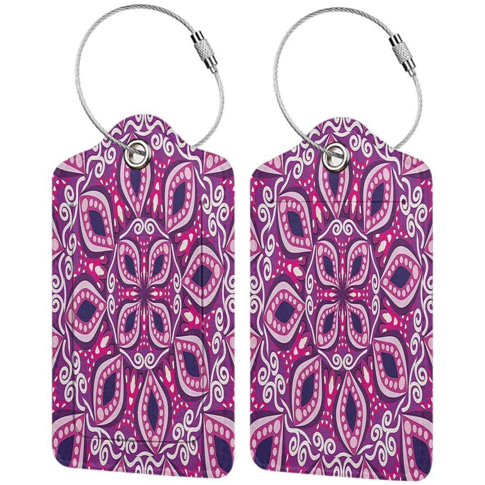 Waterproof luggage tag Floral Trippy Flower Motif with Modern Lace Effects and Dots Victorian Swirls Print Soft to the touch Magenta Pink Plum W2.7 x L4.6