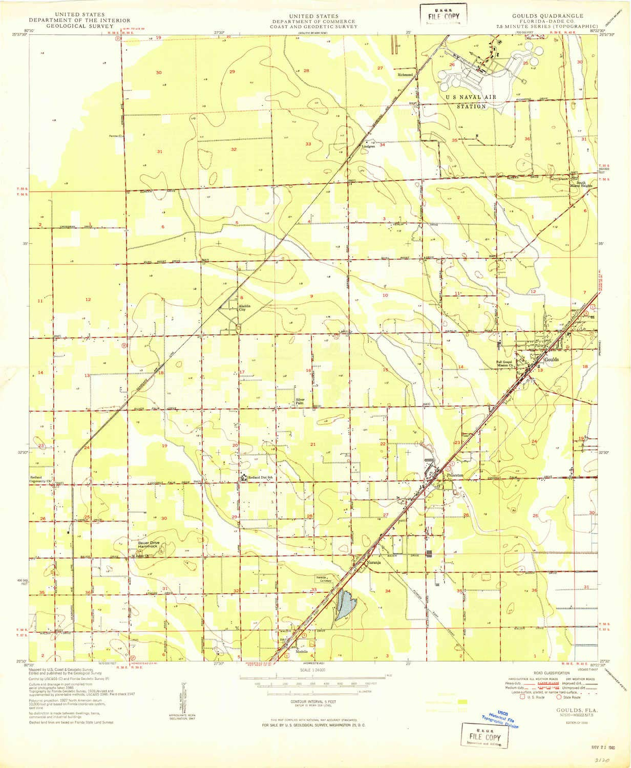 YellowMaps Goulds FL topo map, 1:24000 Scale, 7.5 X 7.5 Minute, Historical, 1949, 27.9 x 22.9 in - Tyvek by YellowMaps