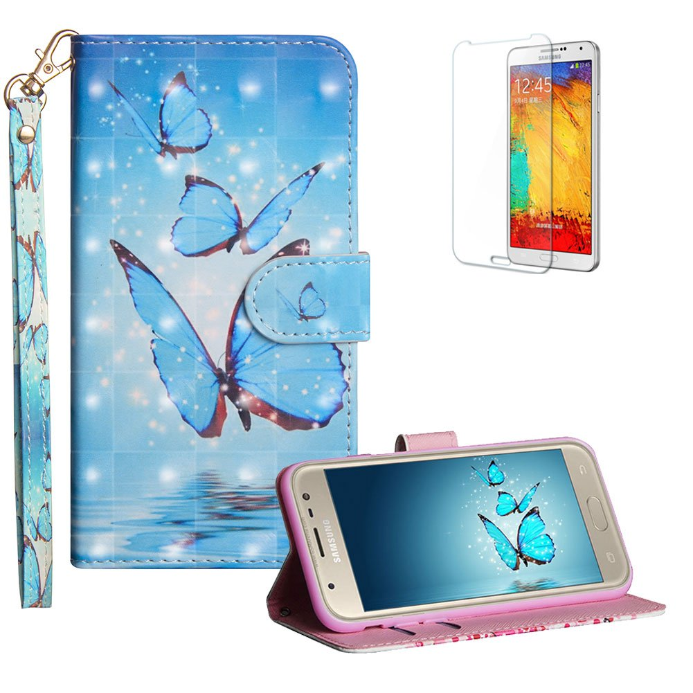 Funyye Strap Flip Cover for Samsung Galaxy Xcover4/G390, Stylish 3D Painted Pink Tree Magnetic Folio Wallet Leather Case with Credit Card Holder Slots PU Leather Cover for Samsung Galaxy Xcover4/G390, Full Body Shockproof KickStand Protective Soft Silicone