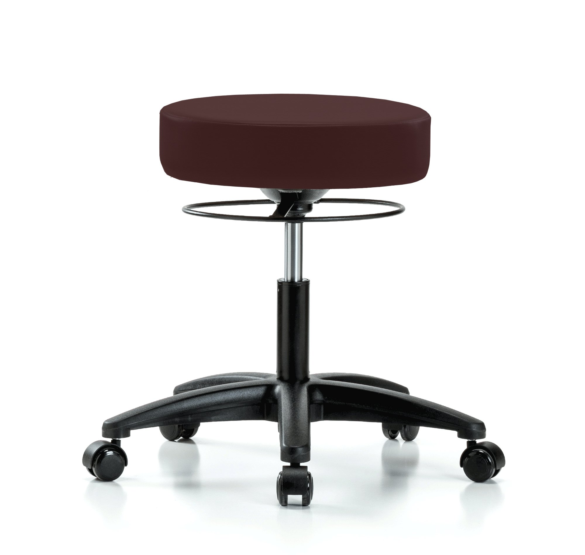 Perch Stella Rolling Adjustable Stool Medical Salon Spa Massage Tattoo Office 18.5'' - 24'' (Hard Floor Casters/Burgundy Fabric)