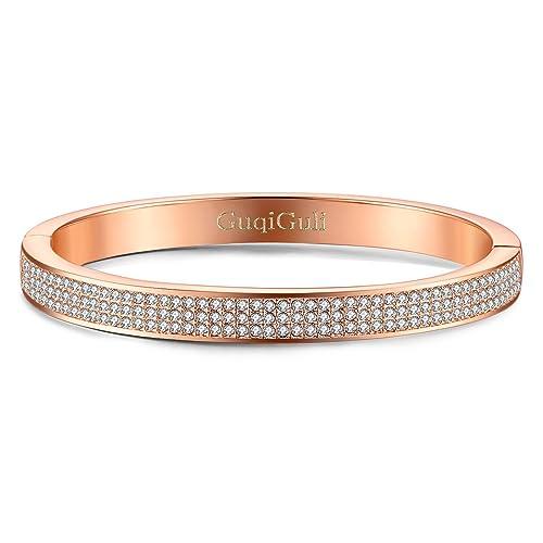 f9d92fa198b90 GuqiGuli Pave Swarovski Elements Crystal Oval Bangle Bracelets with  Silver/Gold/Rose Gold Plated, 7.4''
