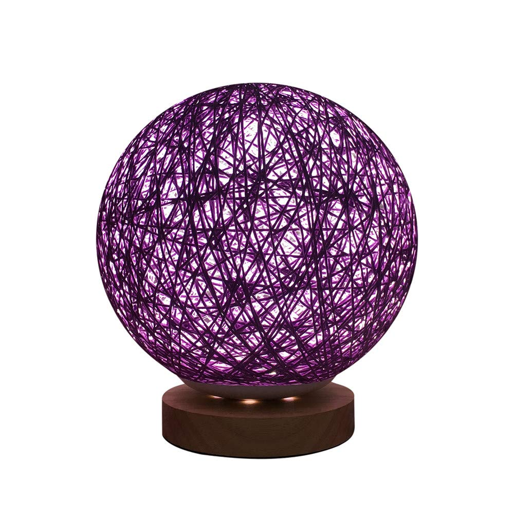 Amaping 3D Creative Fascinating Rattan Ball Bedside Lamp LED Light for Bedroom Desk Display USB Charging Night Light with 20cm Adjust Pedestal (Vine Twist Color A)