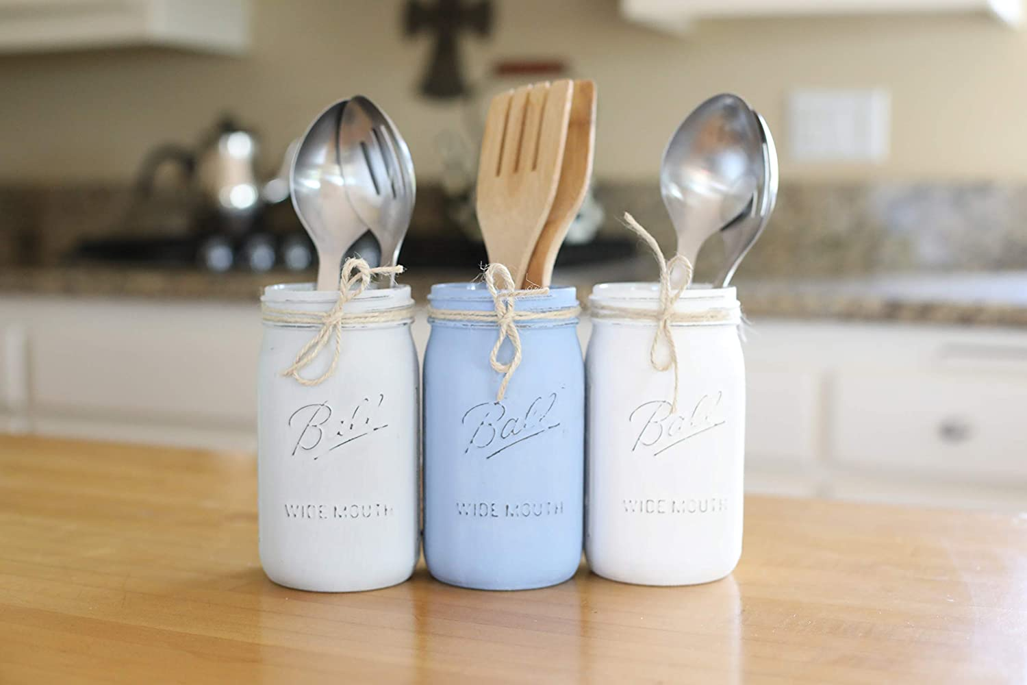 Mason Jar Kitchen Utensil Holder Set, Painted and Distressed Mason Jars, Your Choice of Jar Colors, 3 Piece Set