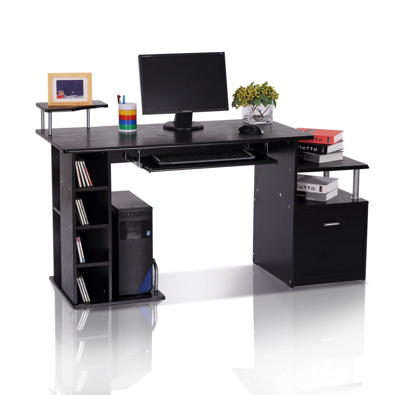 HOMCOM Computer Desk PC Workstation with Drawer Shelves CPU Storage Rack Home Office Furniture (BROWN) sold by mhstar