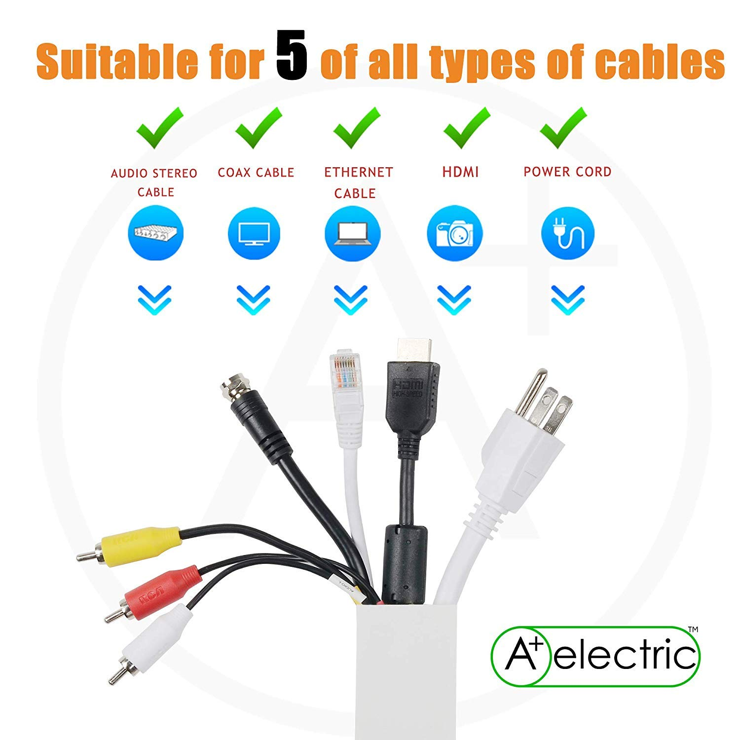 1.6 1.6 Cable Management kit Cord Organizer Channel-60,L 30,W40mm Quality Wire Hider for TV,Computers,Your Home or Office,Paintable Wall Mounted Cable Concealer,Do It Yourself Raceway ,H40mm