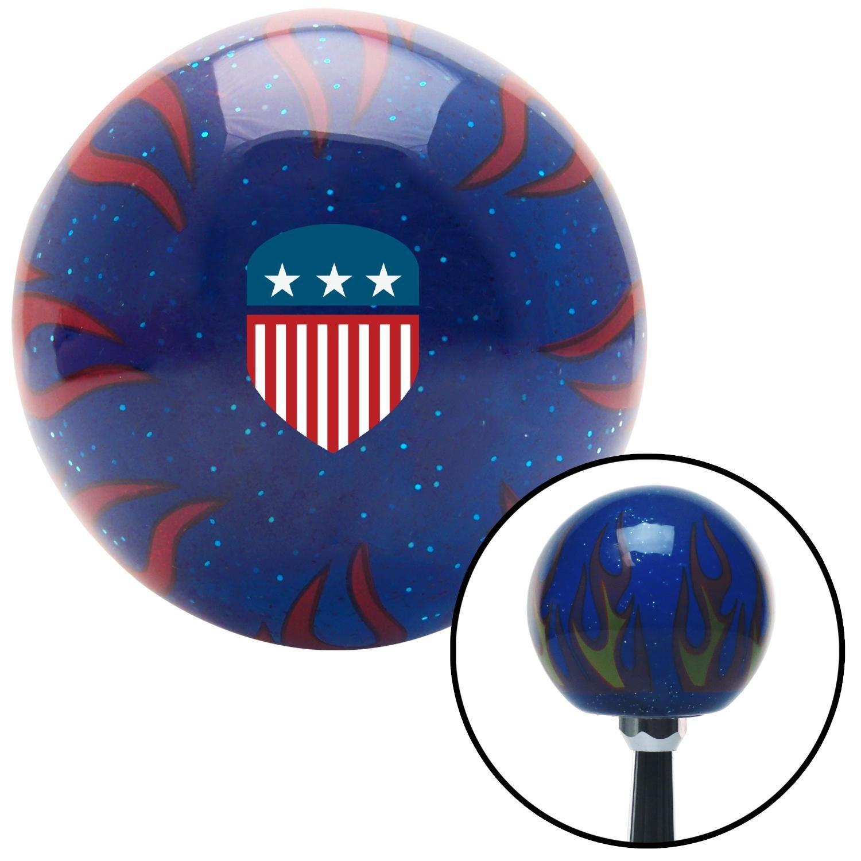 American Shifter 298671 Shift Knob USA Flag Shield Blue Flame Metal Flake