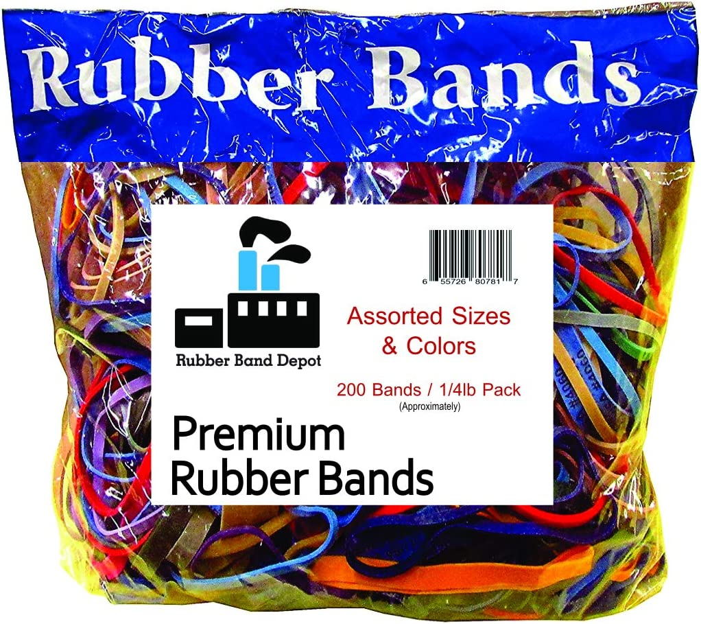 Rubber Bands, Rubber Band Depot, Assorted Sizes & Assorted Colors (1/4 Pound Bag)
