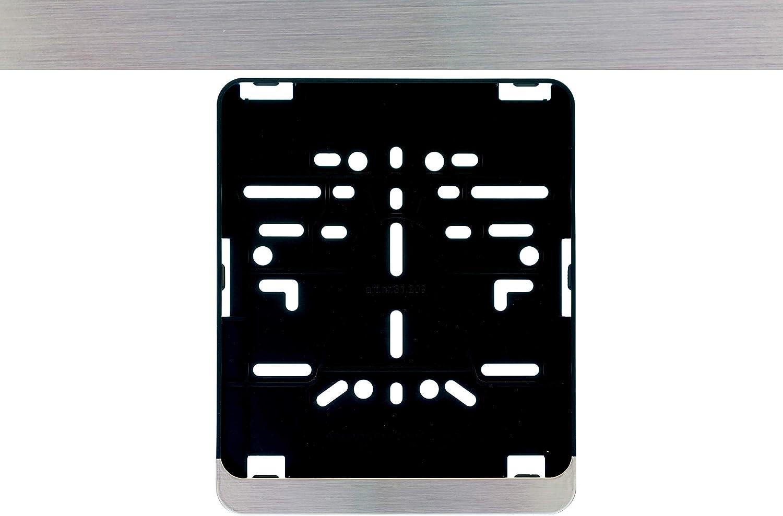 1 portatarga per targhe in formato 180 x 200 mm non verniciata per moto scooter, materiale: plastica ABS nera 18 x 20 cm con effetto cromato satinato.