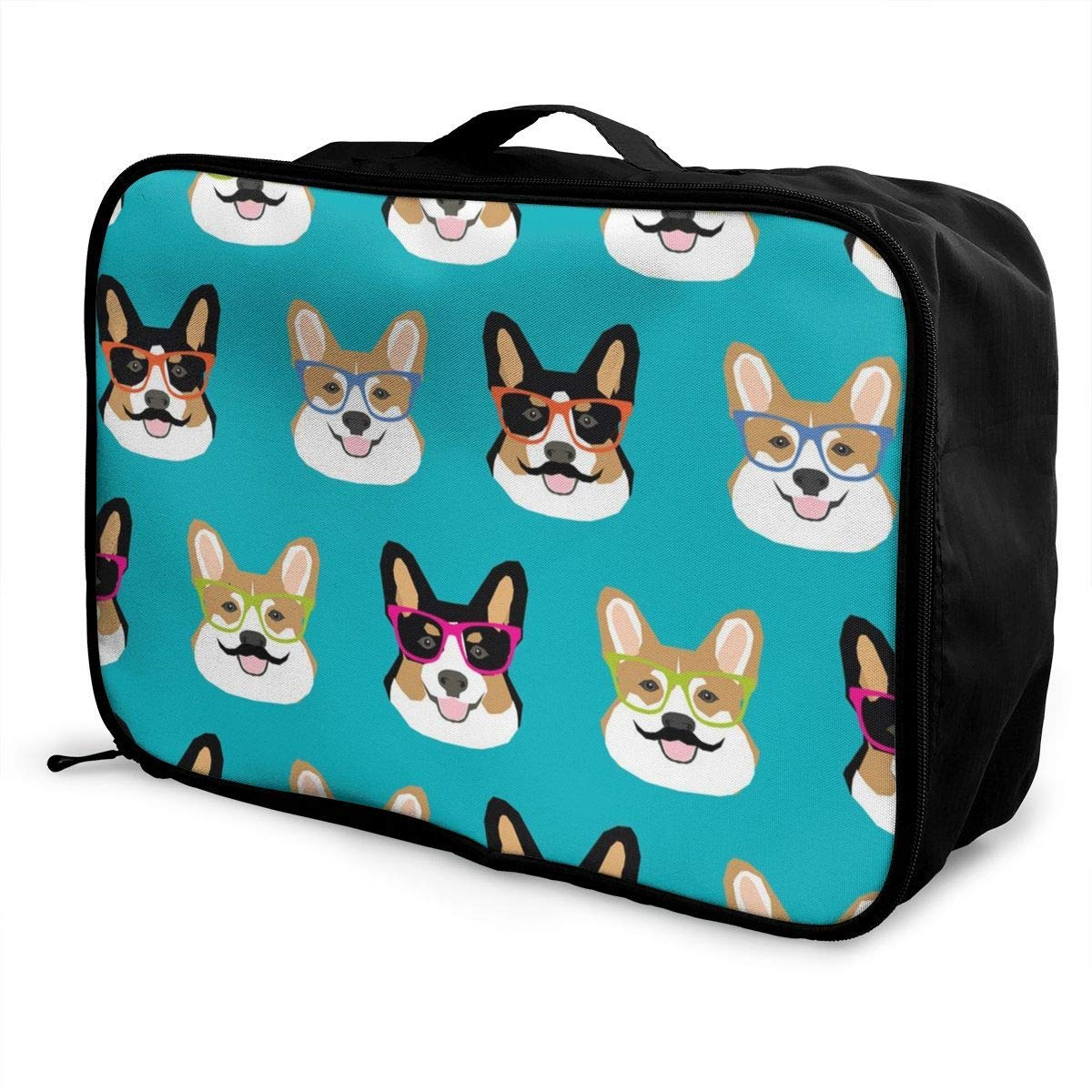 Cute Corgi Glasses And Mustaches Travel Duffel Bag Waterproof Fashion Lightweight Large Capacity Portable Duffel Bag for Men /& Women JTRVW Luggage Bags for Travel