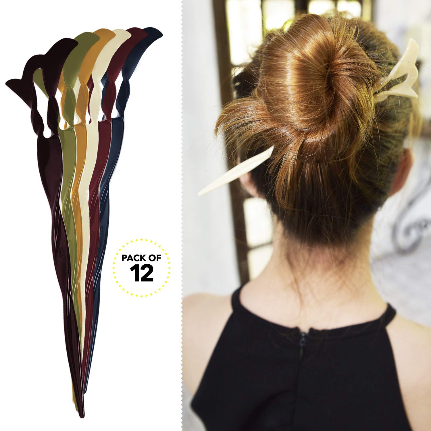 RC ROCHE ORNAMENT Womens Fashion Hair Sticks Spiral Plastic Twist Stylish Chopstick Bun Updo Hairpins Premium Quality Beauty Accessory Girls Ladies, 12 Pack Count Medium Classic Multicolor by RC ROCHE ORNAMENT