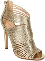 Liliana Nikia-9 Women Metallic Caged Peep Toe Cutout Stiletto Sandal Gold