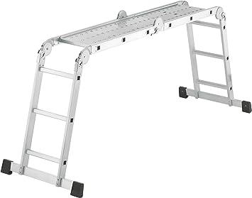 Hailo 7412-031 - Escalera industrial combinada 4 tramos de aluminio con 2 plataformas metálicas antideslizantes (4x3 peldaños): Amazon.es: Bricolaje y herramientas