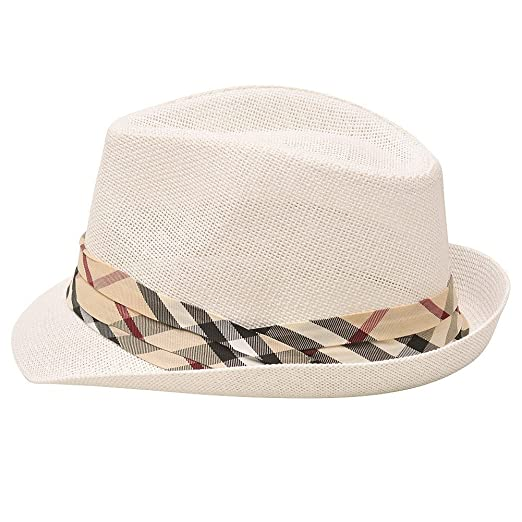 a3720312983e7 Image Unavailable. Image not available for. Color  Sophias Style Unisex  Junior Adult Ivory Plaid Grosgrain Ribbon Fedora Summer Hat