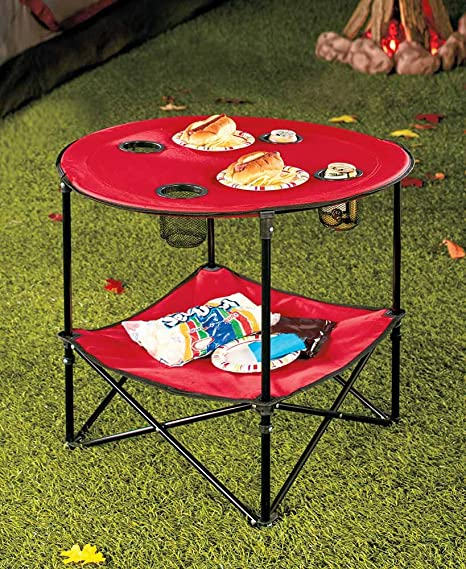 Superbe The Lakeside Collection Red Folding Picnic Table With Shelf