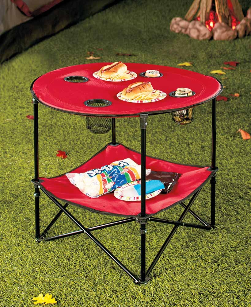 The Lakeside Collection Red Folding Picnic Table with Shelf -