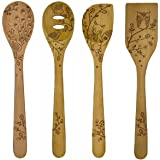 Talisman Designs 12-Inch Solid Beechwood Mixing, Slotted & Corner Spoon Plus Spatula Turner with Woodland Design (Set of 4)