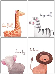 L & O Goods Safari Animals Inspirational Nursery Décor | Baby Boy & Girl Wall Art Watercolor Prints | Set of 4 Posters for Bedroom Decoration | Cute Kids Posters | 8 x 10's