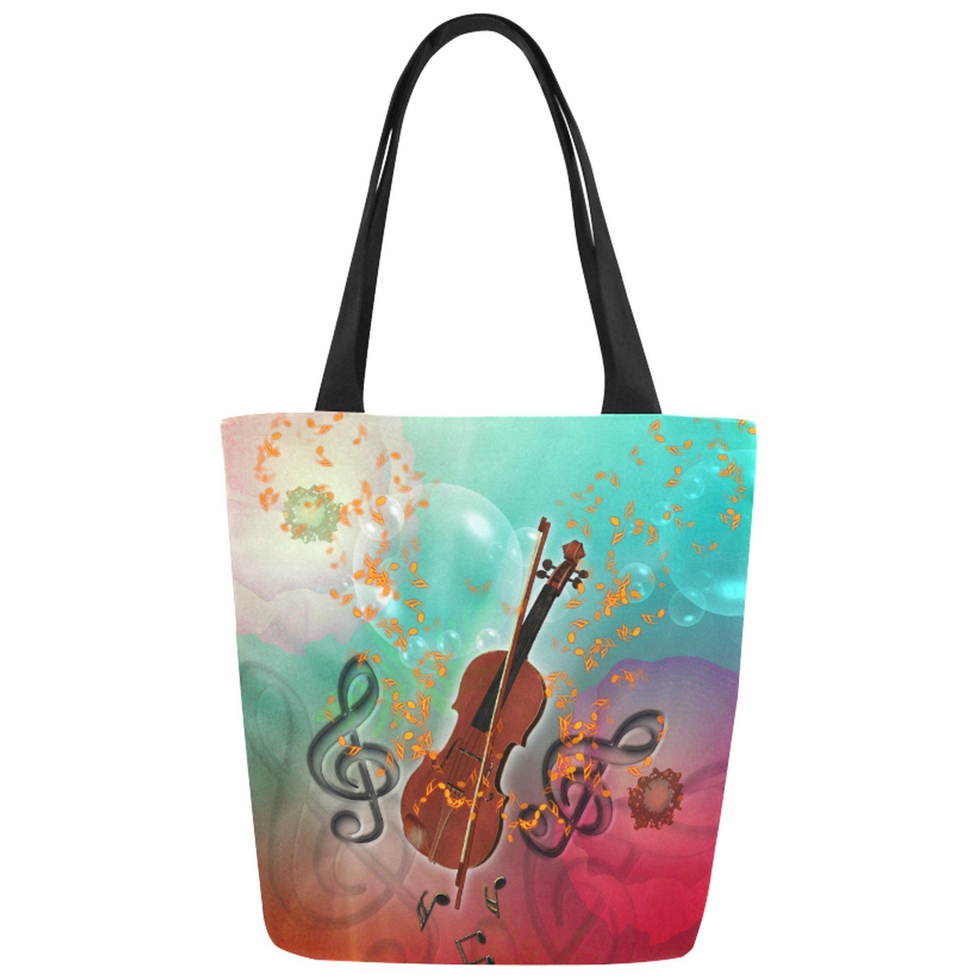 InterestPrint Music Notes Canvas Tote Bag Shoulder Handbag for Women Girls