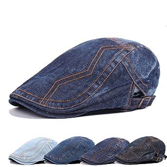 9416fd7ac6cc6 Leisial Sombrero de Boina Vaquera Gorra con Visera Casquillo Vintage  Sencilla Ocio al Aire Libre Sombrero del Sol Protector Solar para Unisex- Adult
