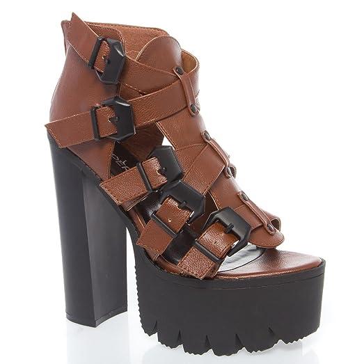 Womens 12-ROCKER14 Open Toe High Heel Platform Ankle Boot Shoes
