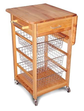 catskill craftsmen single drop leaf kitchen basket cart: leaf kitchen cart