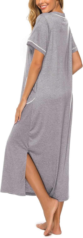 Bloggerlove Womens Nightgowns Cotton V Neck Night Shirt Short Sleeve Loungewear Plus Size Sleepwear