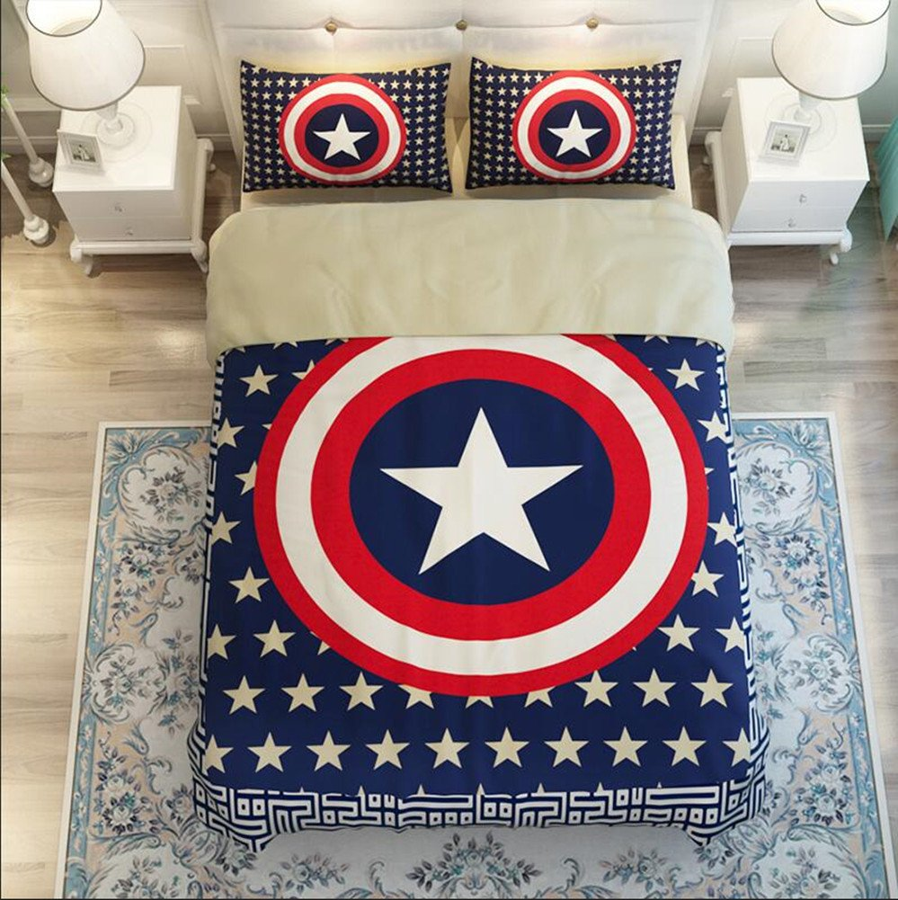 Judy Dre am Home Textiles Cartoon Captain America Bedding Set Single/Double 4pcs Duvet Cover Set Star 100% Cotton Quilt Cover Sets Queen Size by Judy Dre am