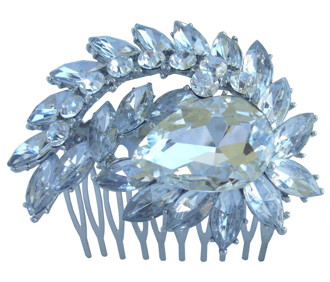 Sindary 2.76'' Teardrop Bridal Hair Comb Clear Rhinestone Crystal Silver Tone Wedding Headpiece HZ4993 by Wedding Hair Accessories-Sindary Jewelry