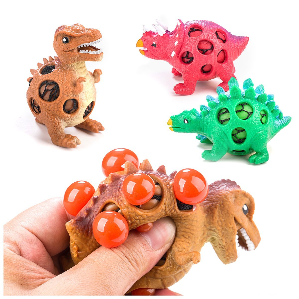 Dinosaur Stress Relief Toys Kids Adults: Best Dinosaur Squeeze Toy Stress Reduction- 3 Dinosaur Stress Balls in 1 Pack Idea, Adorable Party Favor, Fun & Soft Novelty Pressure