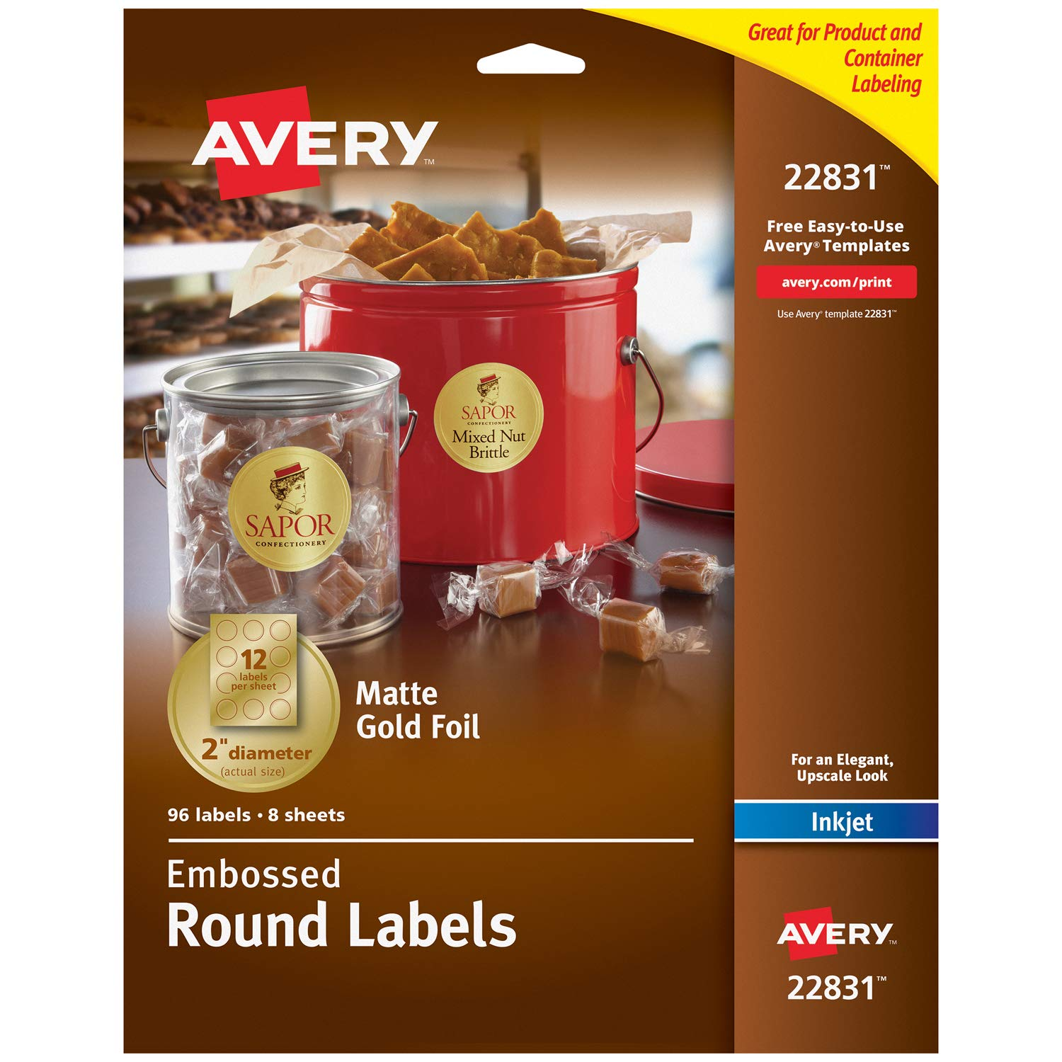 Avery Embossed 2 Inch Round Labels for Inkjet Printers Only,96 Matte Gold Labels (22831)