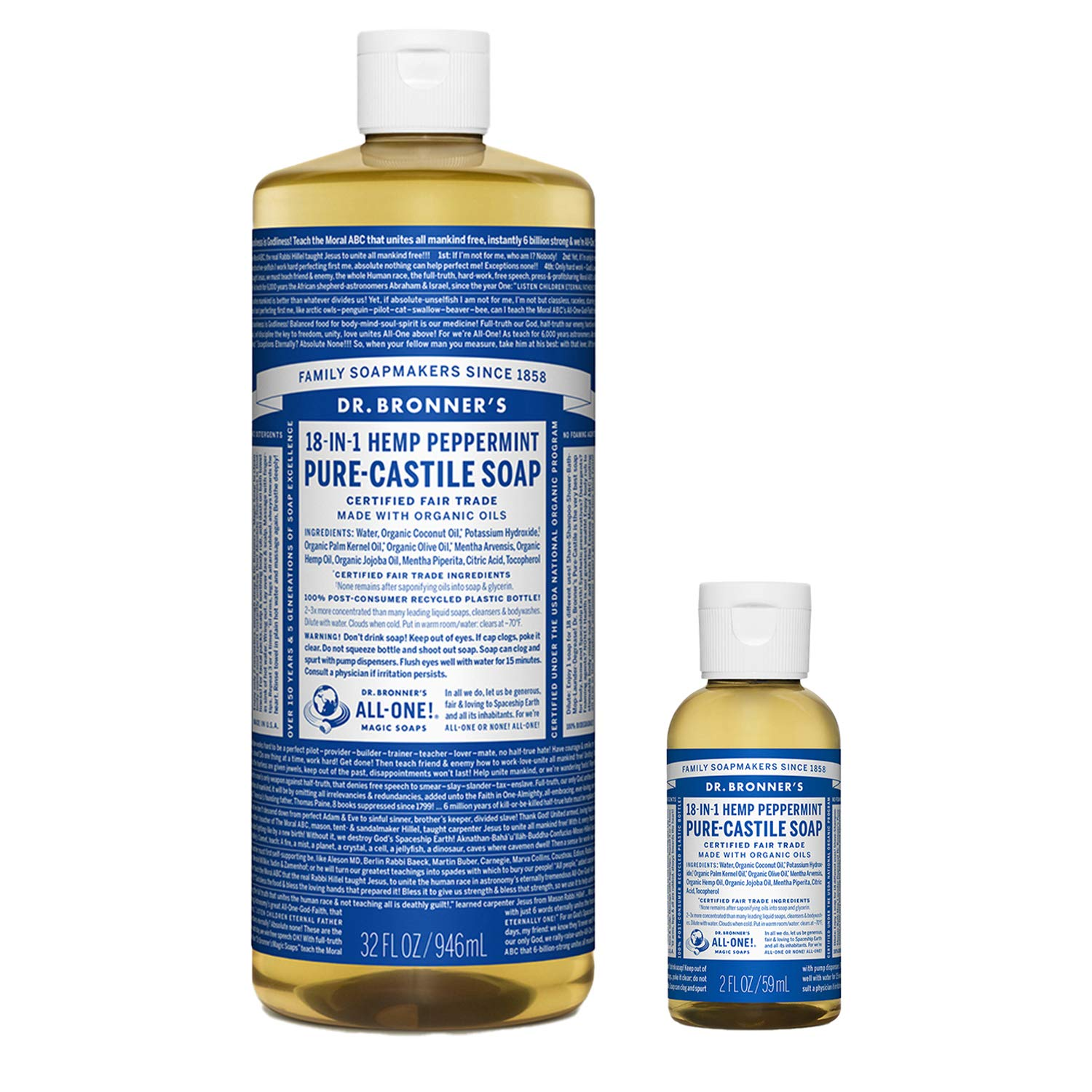 Dr. Bronner's - Pure-Castile Liquid Soap (Peppermint, 32 ounce and 2oz bundle) - Made with Organic Oils, 18-in-1 Uses: Face, Body, Hair, Laundry, Pets and Dishes, Concentrated, Vegan, Non-GMO