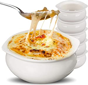 Stock Your Home White French Onion Soup Crocks (6 Count) - 12 Ounce Oven Safe French Onion Soup Bowls - Ivory Ceramic Porcelain Soup Bowls - Dishwasher Safe Stoneware Crocks for Soup, Chowder, Chili