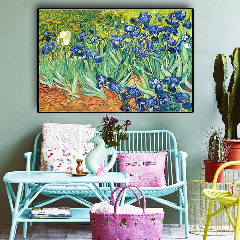 QWESFX Vince Garden Iris Flower Canvas Painting Large Canvas ...