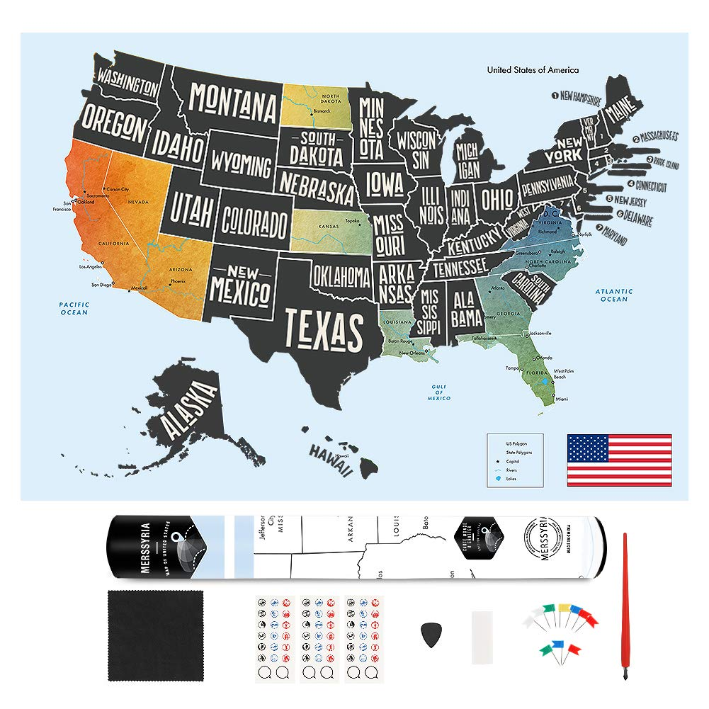 "Scratch Off Map of The United States, Merssyria Scratch USA Travel Map Wall Poster with Scratching Tools, Flag Pins, Stickers, Deluxe Gift for Traveler 24"" x 17"""