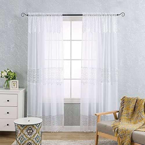 jinchan White Lace Sheer Curtains 84 Inch Long with Attached Valance for Bedroom, Rod Pocket Mix and Match Tulle Sheer Lace Curtain Set Set of 2, 52 x 84