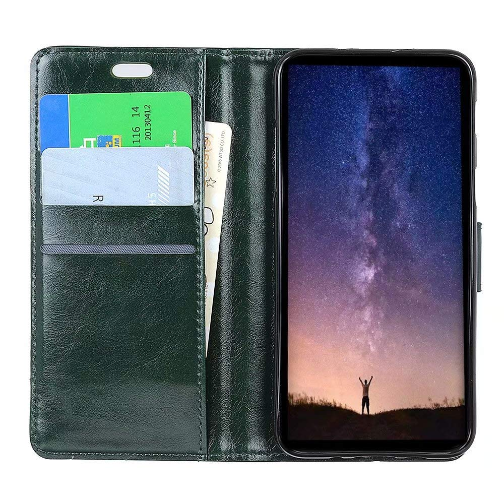 Veapero Samsung Galaxy J4 Plus 2018 Case Shockproof,PU Leather Flip Case Notebook Wallet Cover Pure Color with Kickstand Magnetic Stand Card Holder ID Slots Soft TPU Bumper Protective Skin Case,Black