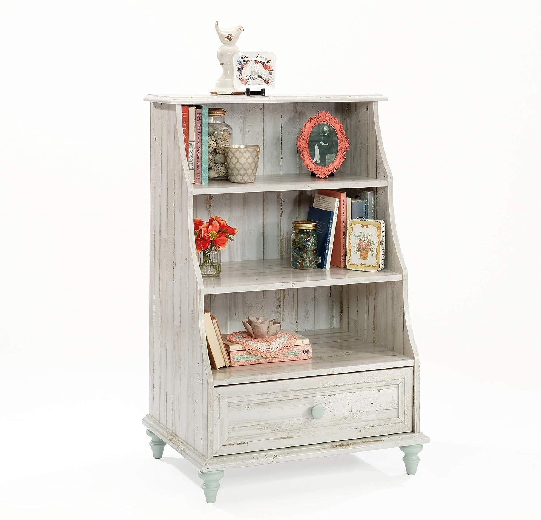 Sauder Eden Rue Accent Bookcase with Drawer, White Plank finish