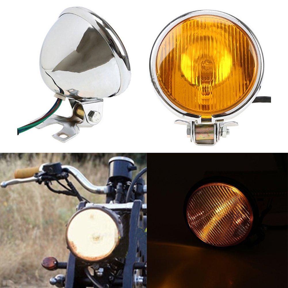 Taben 12,7/cm 35/W nero ambra moto faro testa lampada per Harley bobber chopper