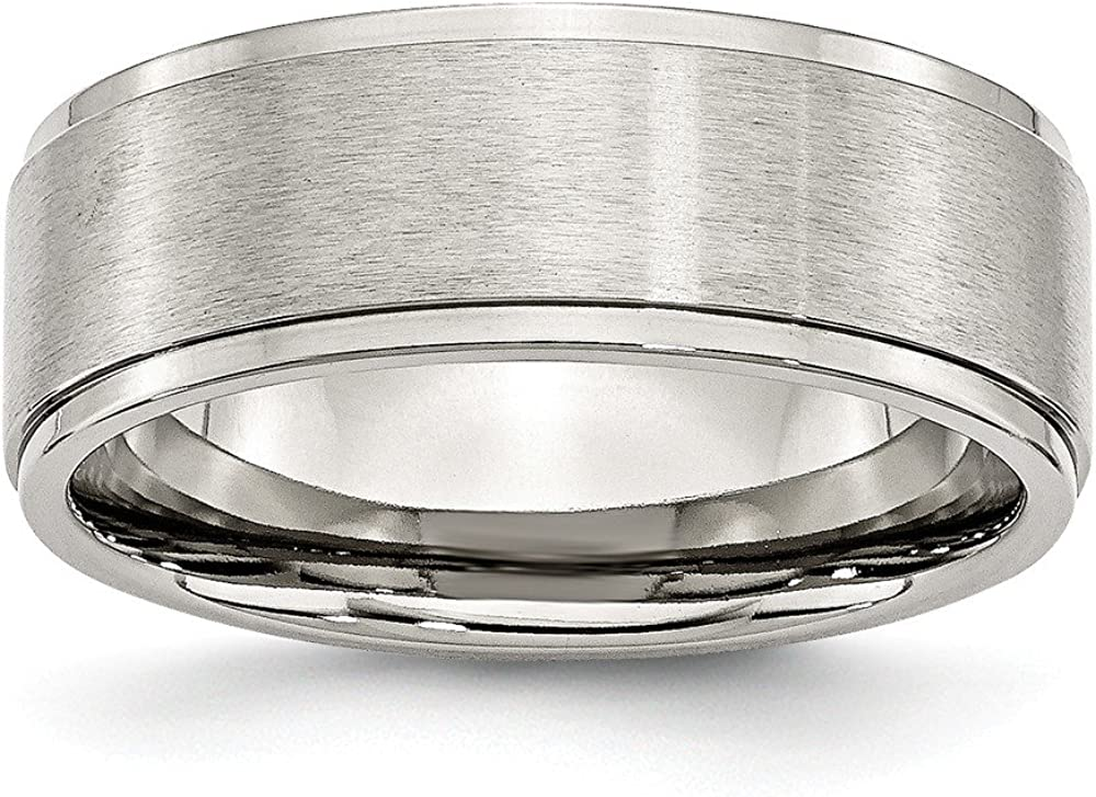 Wedding Bands Classic Bands Flat Bands w//Edge Stainless Steel Ridged Edge 8mm Brushed and Polished Band Size 11