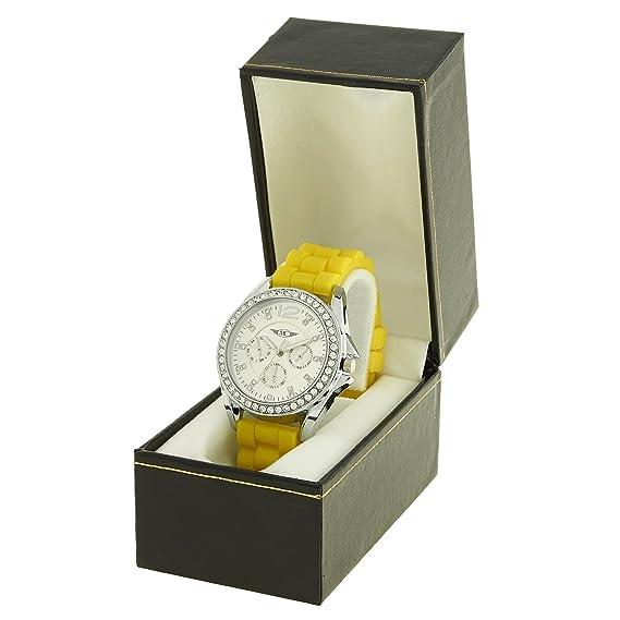 montre-concept – Reloj analógico Mujer – Correa Silicona Amarillo Reloj Redondo Color Plata fondo