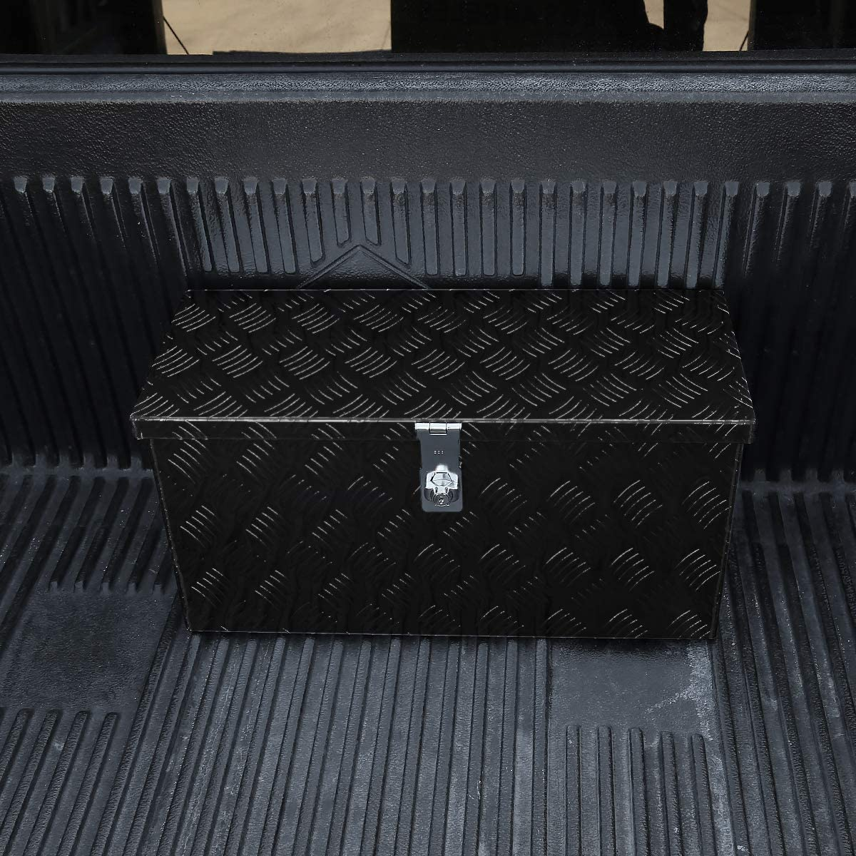 Carpartsinnovate 24x10 Truck Black Pickup Aluminum Tool Box Trailer Storage w//Handles /& Lock